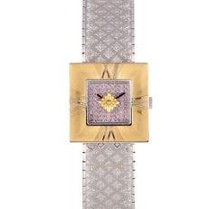 Buccellati Ladies Yellow Gold Square Agalmachron Pink Diamond Quartz Wristwatch