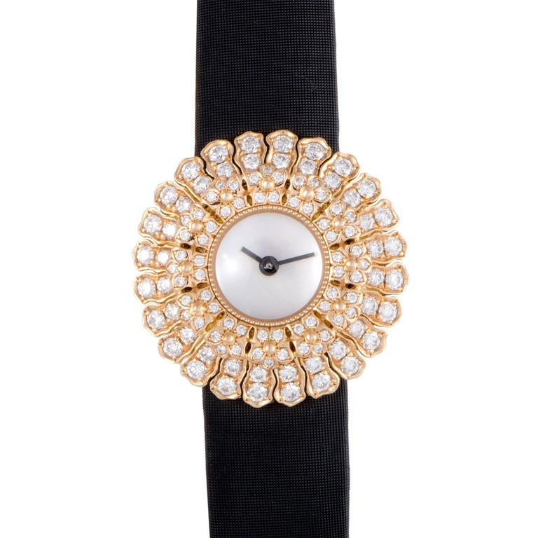 Buccellati Ladies Rose Gold Diamond Anthochron Zinnia Quartz Wristwatch 1