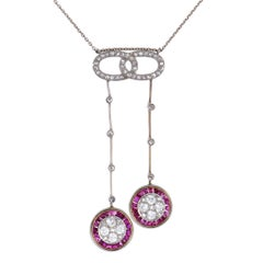 Diamond and Ruby White and Yellow Gold Dangling Pendants Necklace