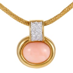 Diamond and Pink Coral Yellow Gold Oval Pendant Necklace