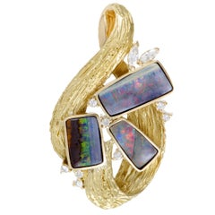 Diamond and Opal Yellow Gold Pendant