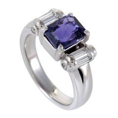 Diamond Baguette and Sapphire Platinum Ring