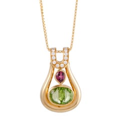 Diamond Pink Tourmaline and Peridot Yellow Gold Pendant Necklace