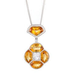 Diamond White Sapphire and Citrine White Gold Pendant Necklace
