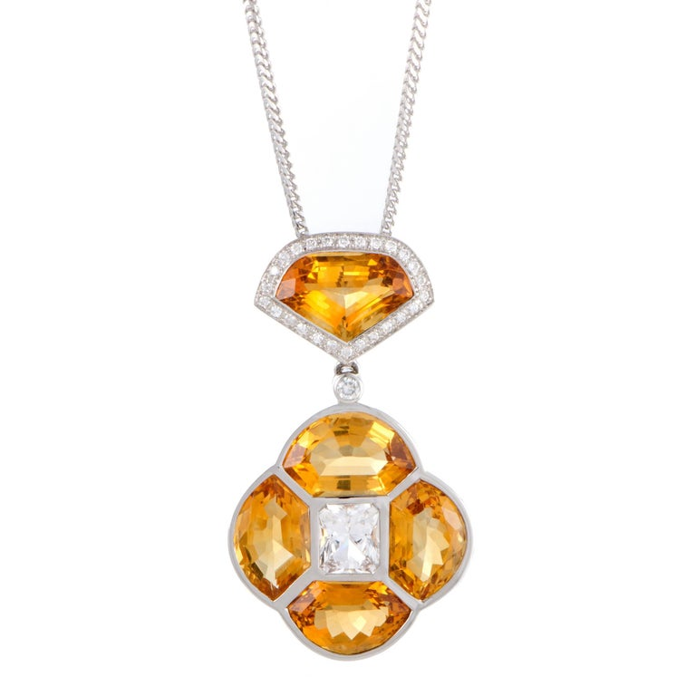 Diamond White Sapphire and Citrine White Gold Pendant Necklace