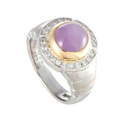 Diamond and Pink Sapphire Cabochon Platinum Yellow Gold Ring