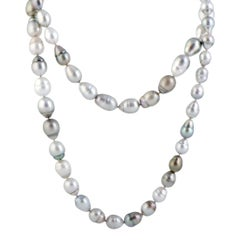 Long Multi-Color Pearl White Gold Strand Necklace