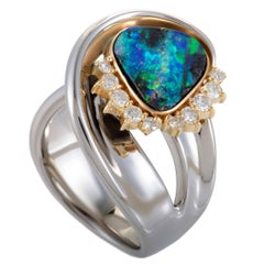 Diamond and Fire Opal Swirled Platinum and Yellow Gold Ring