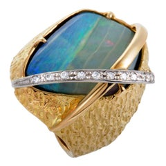 Diamond and Fire Opal Ring Platinum and Yellow Gold Ring