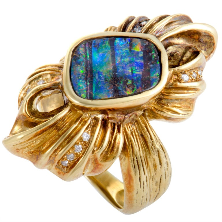 Diamonds and Fire Opal Yellow Gold Bow Ring