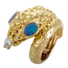Diamond and Fire Opal Yellow Gold Snake Ring