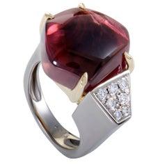 Diamond and Cabochon Pink Tourmaline Platinum and Yellow Gold Ring