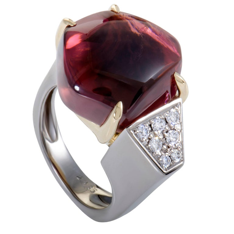 Diamond and Cabochon Pink Tourmaline Platinum and Yellow Gold Ring