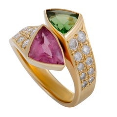 Diamonds and Pink and Green Tourmaline Yellow Gold Bypass Ring