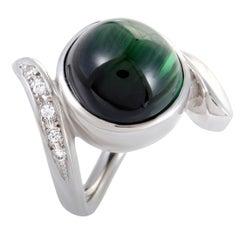 Diamond and Cabochon Green Tourmaline White Gold Ring
