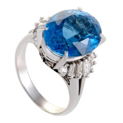 Tapered Diamond Baguette and Oval Topaz Platinum Ring