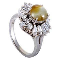Diamond and Cat's Eye Platinum Ring