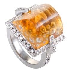 Diamond and Citrine Platinum Cocktail Ring