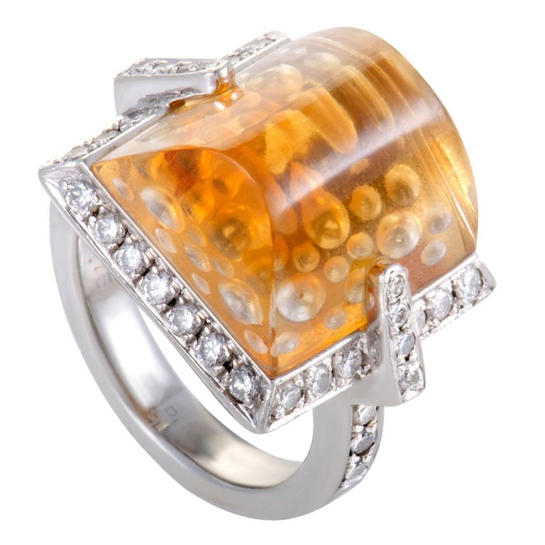 diamond and citrine platinum cocktail ring for sale at 1stdibs