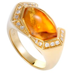 Diamond and Citrine Yellow Gold Cocktail Ring