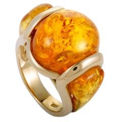 Amber Yellow Gold Band Ring