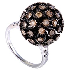 White and Brown Diamond Pave White Gold Sphere Ring