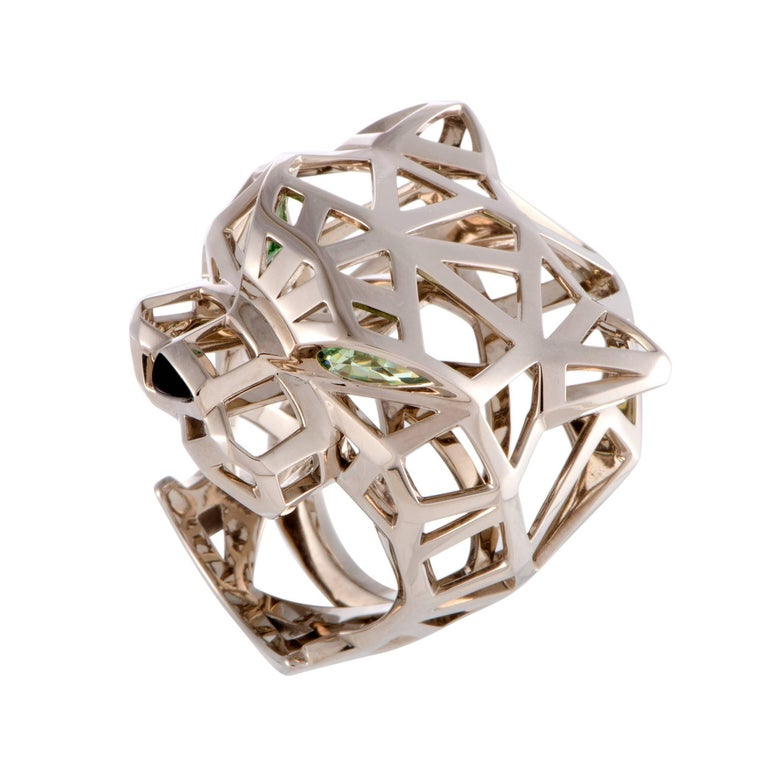 Cartier Panthere Onyx and Peridot Openwork White Gold Panther Head Ring