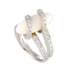 Diamond and Wrapped White Coral Platinum Ring