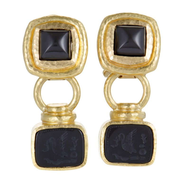 Elizabeth Locke Onyx Intaglio Yellow Gold Dangling Clip-On Earrings For Sale