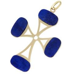 Large Lapis Lazuli Yellow Gold Cross Pendant