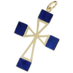 Lapis Yellow Gold Cross Pendant