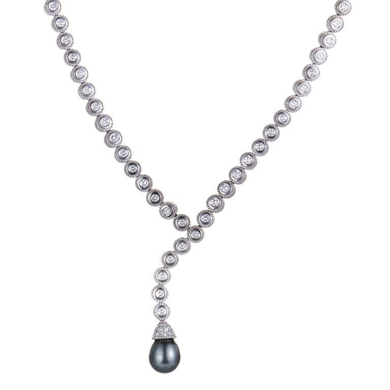 Penny Preville Diamond and Black Pearl White Gold Collar Necklace