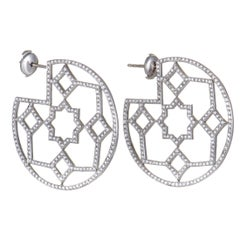 Tiffany & Co. Paloma Picasso Marrakesh Diamond Pave Platinum Hoop Earrings