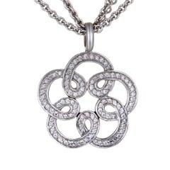 Tous Diamond Pave White Gold Flower Pendant Necklace