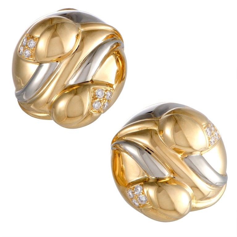 Bulgari Diamond Yellow and White Gold Huggie Earrings