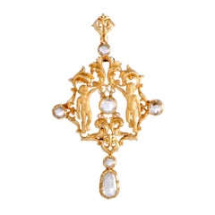 Carrera y Carrera Rose Cut Diamond Yellow Gold Pendant or Brooch