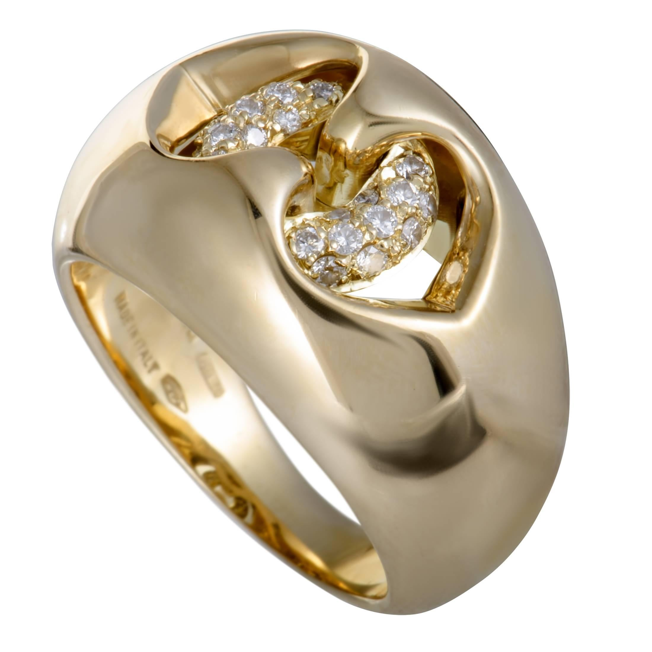 bulgari abbraccio diamond yellow gold ring