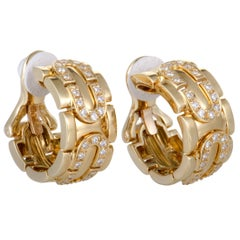 Cartier Diamond Yellow Gold Clip-On Hoop Earrings