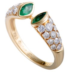 Cartier Diamond and Emerald Yellow Gold Open Band Ring