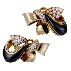 Givenchy Diamond and Onyx Yellow Gold Bow Clip-On Earrings