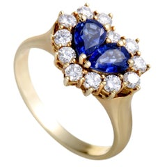 Graff Diamond and Sapphire Heart Yellow Gold Ring