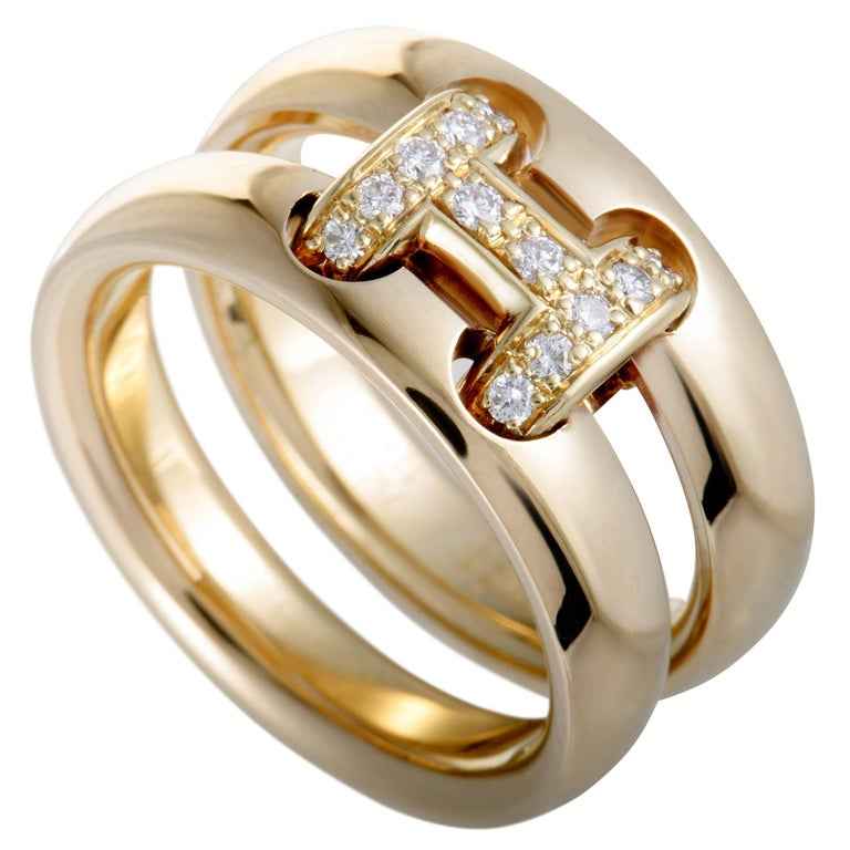 """Hermes Hercules Diamond """"H"""" Yellow Gold Double Band Ring For Sale"""