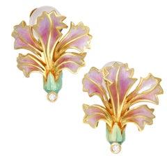 Masriera Vintage Diamond Flower Enameled Yellow Gold Screw Back Earrings