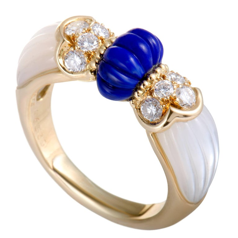 Mauboussin Diamond Lapis and Mother-of-Pearl Yellow Gold Band Ring