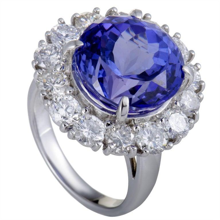 Diamond and Tanzanite Platinum Cocktail Ring