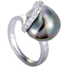 Mikimoto Diamond and Black Pearl Platinum Ring