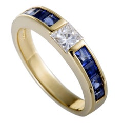 Tiffany & Co. Diamond and Sapphire Invisible Set Yellow Gold Band Ring