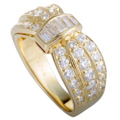 Van Cleef & Arpels Diamond Cinched Yellow Gold Band Ring