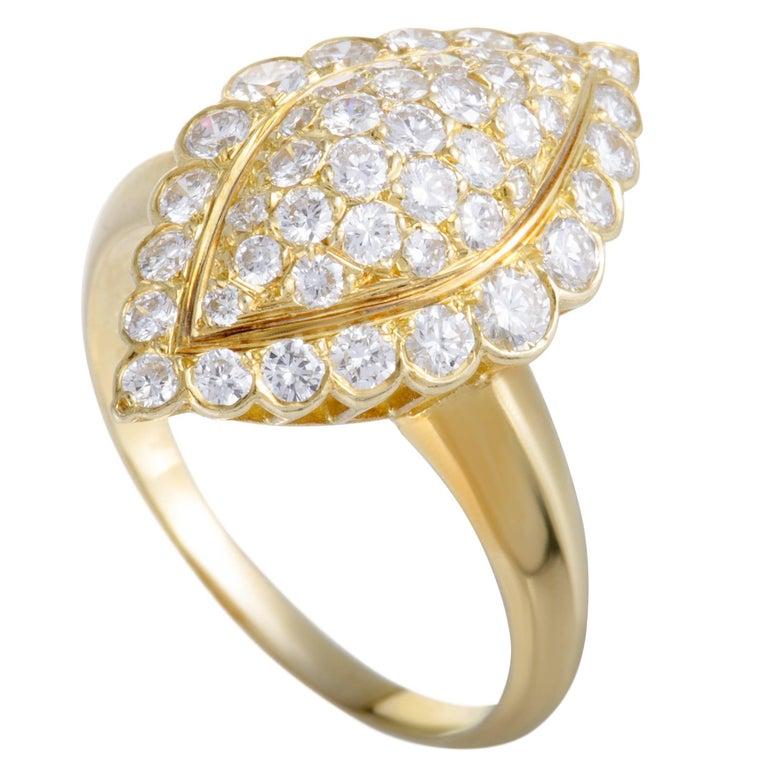 Van Cleef & Arpels Full Diamond Pave Yellow Gold Ring