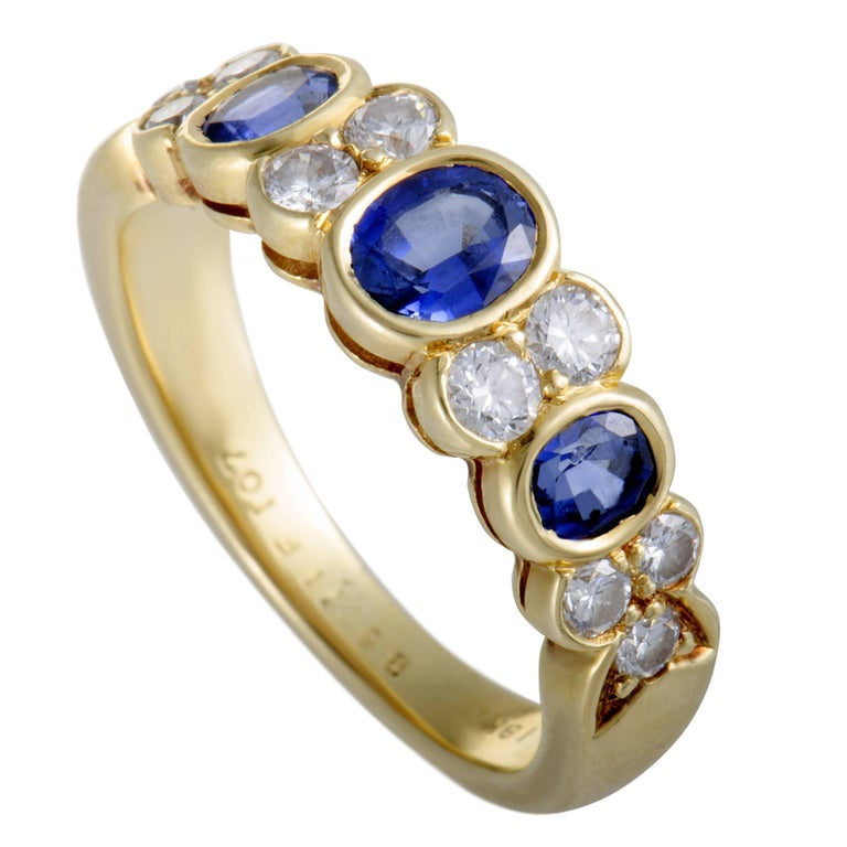 Van Cleef & Arpels Diamond and Sapphire Yellow Gold Band Ring For Sale